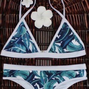 Blue and White Leaf Tropical Cheeky Bikini